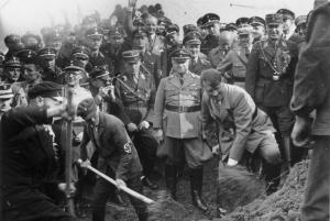 Adolf Hitler on September 23, 1933 the groundbreaking ceremony for highway construction between Frankfurt/Main - Darmstadt-Mannheim, as a means to eliminate unemployment.